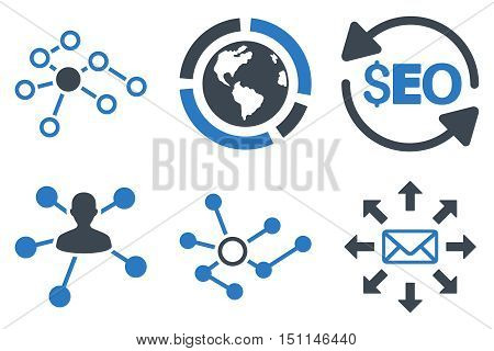 Seo Link Building glyph icons. Icon style is bicolor smooth blue flat symbols with rounded angles on a white background.