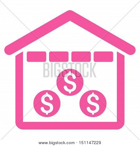 Money Depository icon. Glyph style is flat iconic symbol with rounded angles pink color white background.