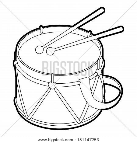 Toy drum icon. Outline illustration of toy drum vector icon for web