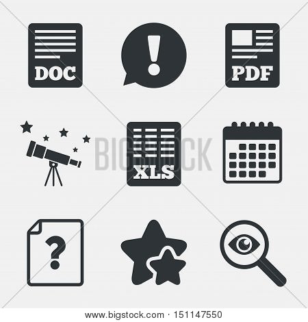File document and question icons. XLS, PDF and DOC file symbols. Download or save doc signs. Attention, investigate and stars icons. Telescope and calendar signs. Vector