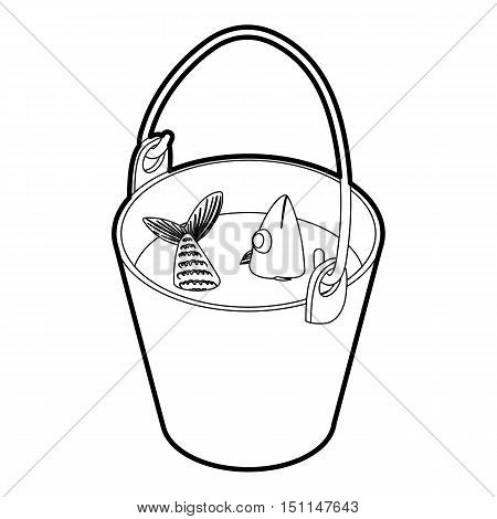Fresh fish in a bucket icon. Outline illustration of vector icon for web