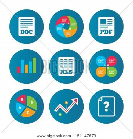 Business pie chart. Growth curve. Presentation buttons. File document and question icons. XLS, PDF and DOC file symbols. Download or save doc signs. Data analysis. Vector