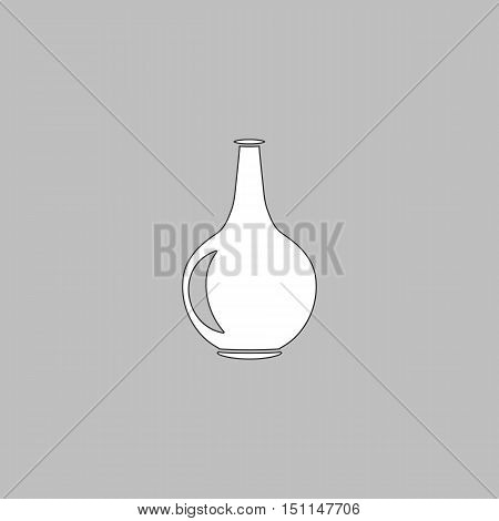 Amphora Simple line vector button. Thin line illustration icon. White outline symbol on grey background
