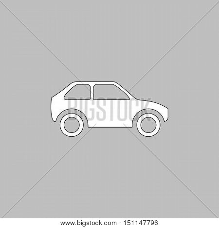 Car Simple line vector button. Thin line illustration icon. White outline symbol on grey background