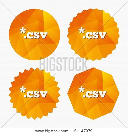 File document icon. Download tabular data file button. CSV file extension symbol. Triangular low poly buttons with flat icon. Vector