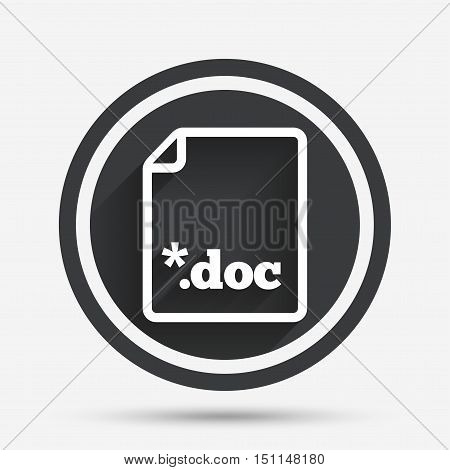 File document icon. Download doc button. Doc file extension symbol. Circle flat button with shadow and border. Vector