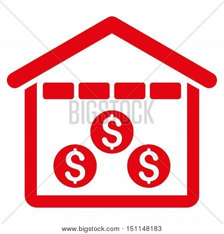 Money Depository icon. Glyph style is flat iconic symbol with rounded angles red color white background.