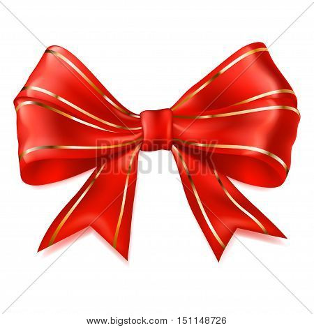 Big Red Bow With Golden Strips