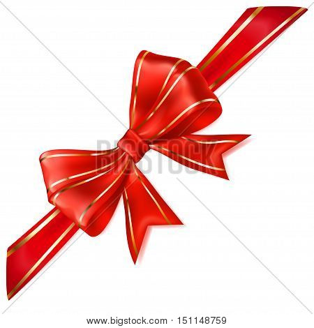 Red Bow With Diagonal Ribbon With Golden Strips