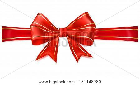 Red Bow With Horizontal Ribbon With Golden Strips