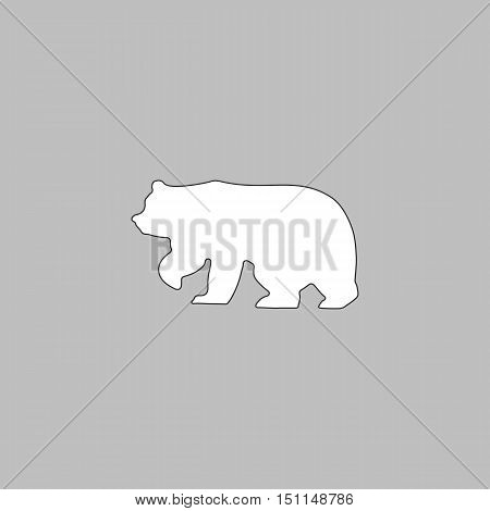 Bear Simple line vector button. Thin line illustration icon. White outline symbol on grey background