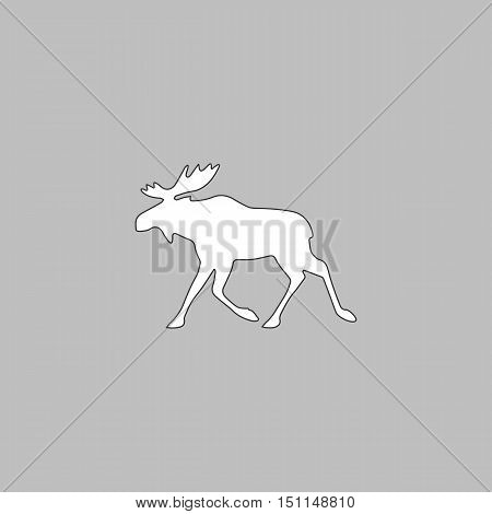 Moose Simple line vector button. Thin line illustration icon. White outline symbol on grey background