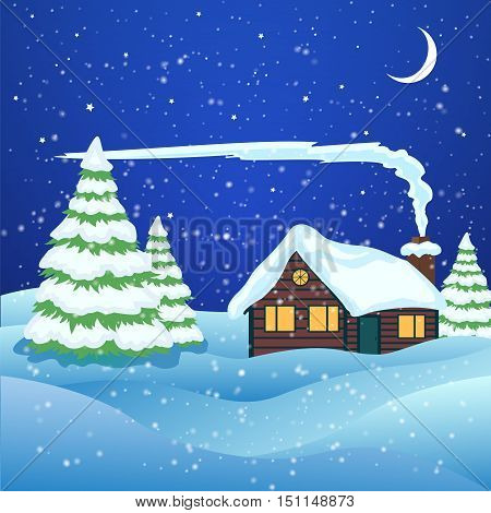 Vector of winter landscape with house in forest.
