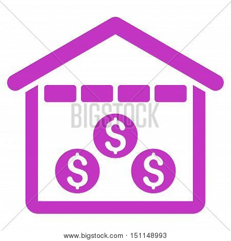 Money Depository icon. Glyph style is flat iconic symbol with rounded angles violet color white background.