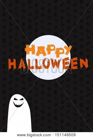 Happy Halloween Lettering with ghost moon. Trick or treat concept for print fabric greeting card banner t-shirt. Poster with halloween text. Vector