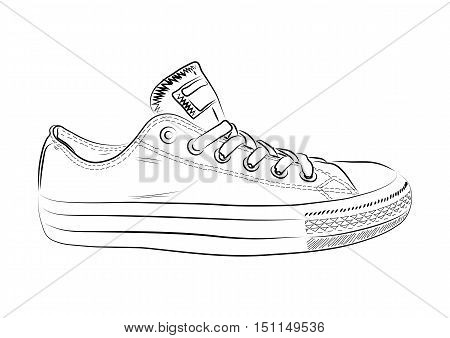 Hand drawn sneakers, gym shoes. Keds vector illustration