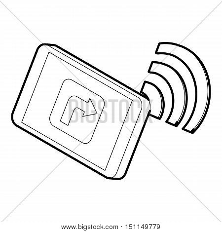 Tablet pc with gps and wifi sign icon. Outline illustration of tablet with gps vector icon for web