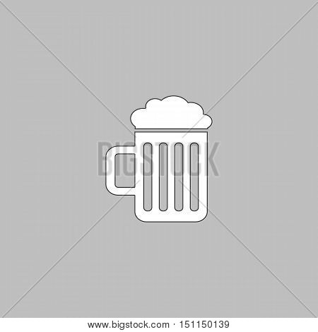 Beer Simple line vector button. Thin line illustration icon. White outline symbol on grey background