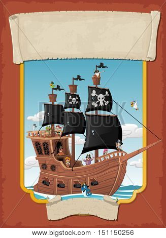 Poster with cartoon pirates on a ship at the sea. Banner with ribbons.