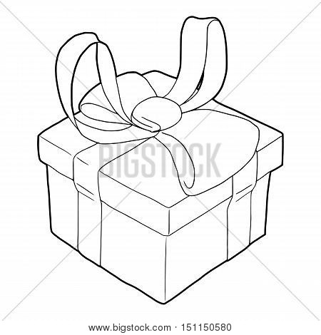 Gift box with ribbon bow icon. Outline illustration of gift box with ribbon bow vector icon for web