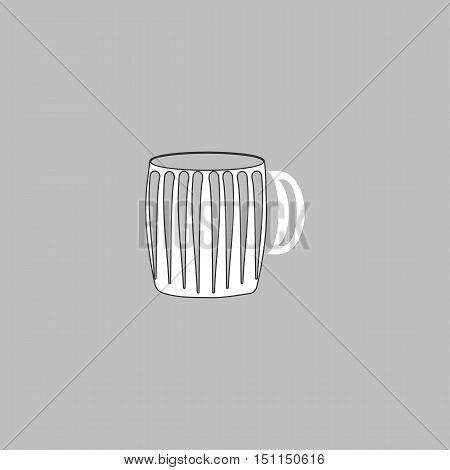 beer mug Simple line vector button. Thin line illustration icon. White outline symbol on grey background