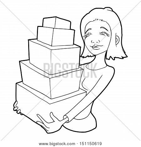 Woman holding many boxes icon. Outline illustration of woman holding many boxes icon vector icon for web