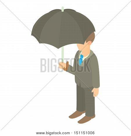 Business man with black umbrella icon. Cartoon illustration of business man with umbrella vector icon for web