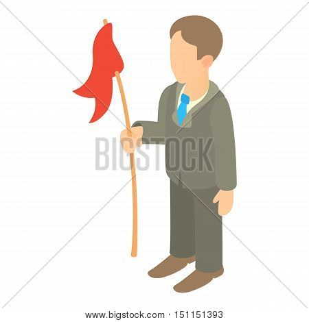 Businessman holding red flag icon. Cartoon illustration of businessman holding flag vector icon for web