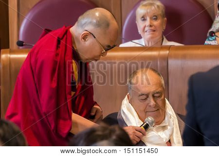 Rome Italy - December 14 2014: The Dalai Lama presented the Peace Summit Award to Italian film director Bernardo Bertolucci.