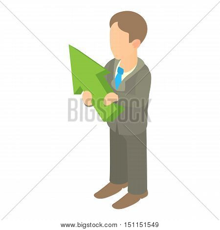 Business man holding with green arrow up icon. Cartoon illustration of business man holding green arrow up vector icon for web