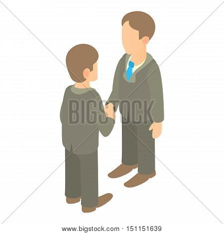 Two businessmen shaking hands icon. Cartoon illustration of two businessmen shaking hands vector icon for web
