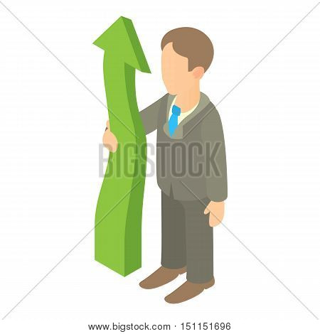 Business man holding green arrow up icon. Cartoon illustration of business man holding green arrow up vector icon for web