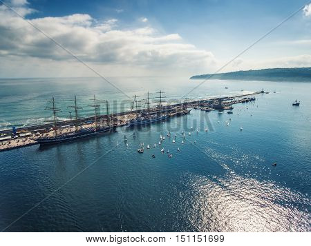 Varna Bulgaria - October 2 2016: Black Sea Tall Ships Regatta sailing ships from different countries on international regatta