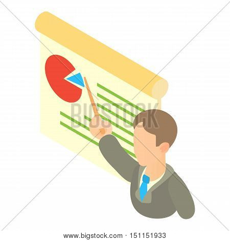 Businessman giving presentation with a board icon. Cartoon illustration of businessman giving presentation with a board vector icon for web
