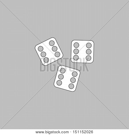 Lucky Simple line vector button. Thin line illustration icon. White outline symbol on grey background