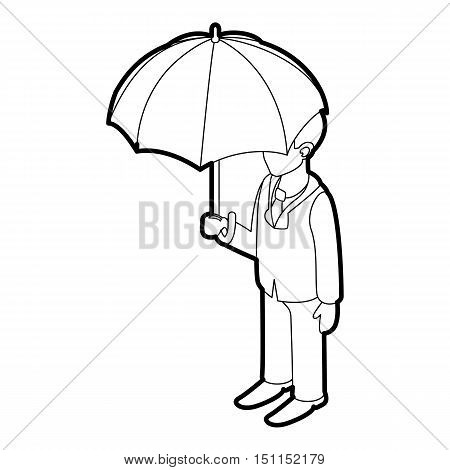 Business man with umbrella icon. Outline illustration of business man with umbrella vector icon for web