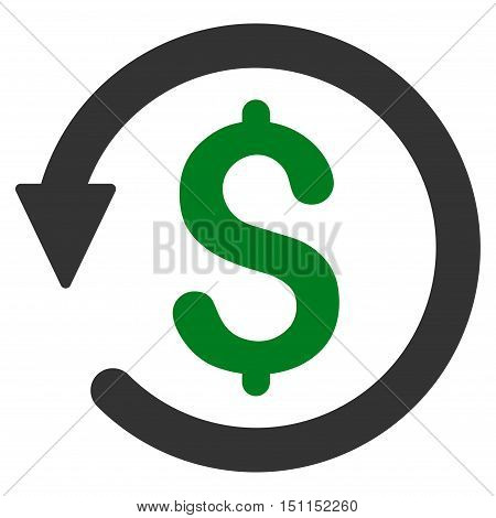 Chargeback icon. Glyph style is bicolor flat iconic symbol with rounded angles, green and gray colors, white background.