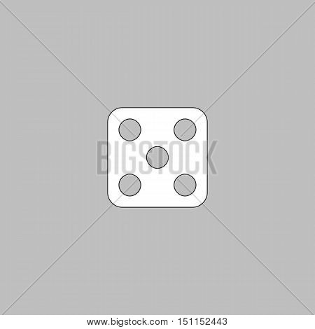 Dice 5 Simple line vector button. Thin line illustration icon. White outline symbol on grey background