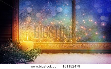 1nd Advent Window decorations With bokeh background