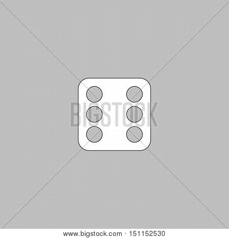Dice 6 Simple line vector button. Thin line illustration icon. White outline symbol on grey background