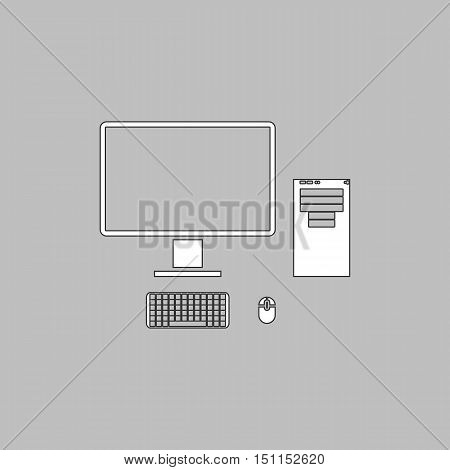 computer Simple line vector button. Thin line illustration icon. White outline symbol on grey background
