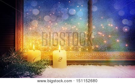 2nd Advent Window decorations With bokeh background