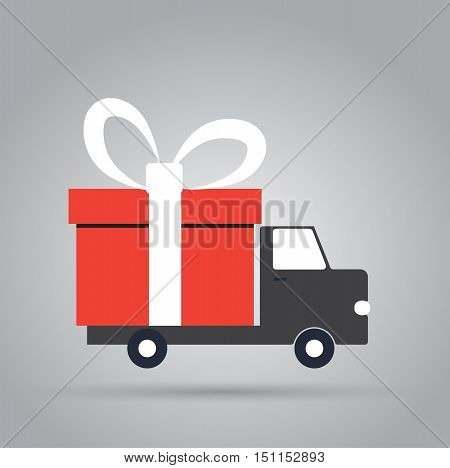 Delivery truck with gift box. Flat vector illustration with copy space