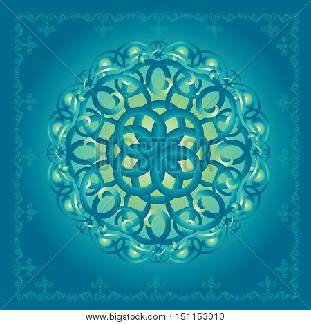 Seamless abstract ornament pattern green-blue style. Vector illustration.
