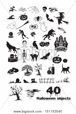 Icons set : Halloween Objects Vector Illustration with silhouette