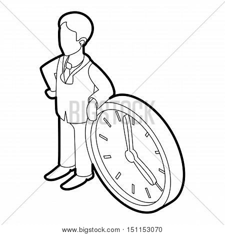 Businessman and clock showing 4 clock icon. Outline illustration of businessman and clock vector icon for web