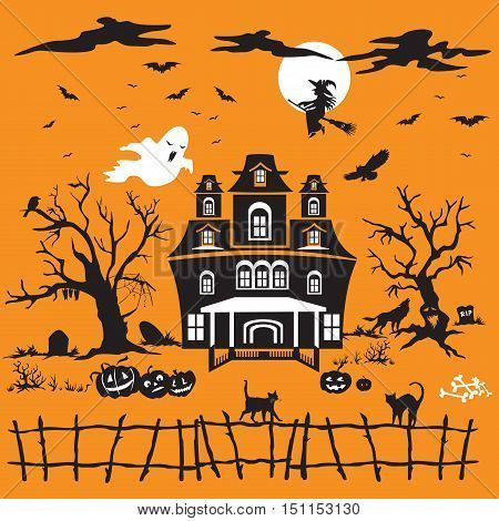 Vector Illustration:Halloween vector orange background with silhouette