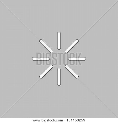 loading Simple line vector button. Thin line illustration icon. White outline symbol on grey background