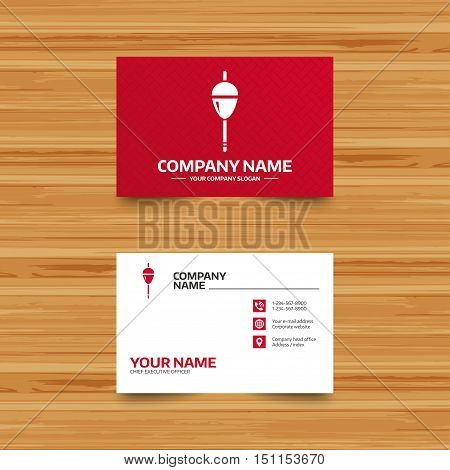 Business card template. Fishing sign icon. Float bobber symbol. Fishing tackle. Phone, globe and pointer icons. Visiting card design. Vector