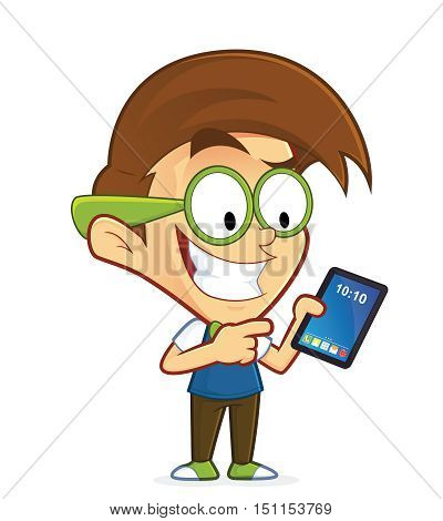 Clipart picture of a nerd geek cartoon character holding tablet pc